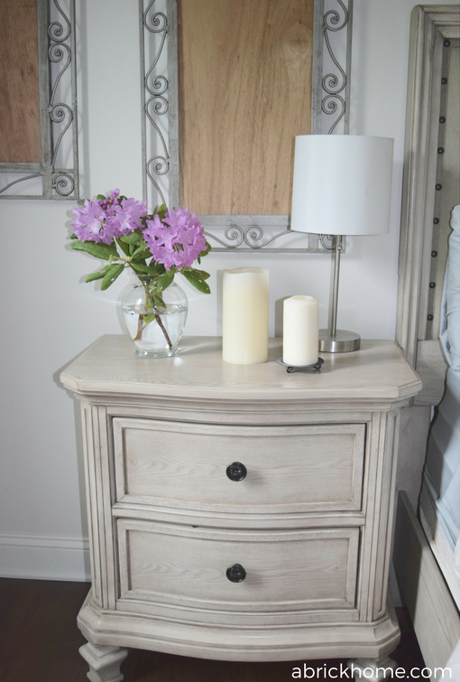 Pretty side table and fresh flowers