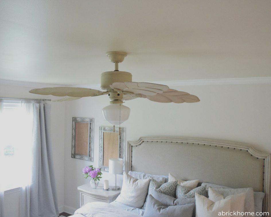 Soft and elegant fan and lighting fixture for a bedroom