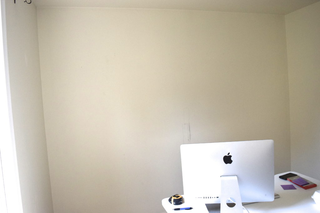 Board and batten grid wall - before