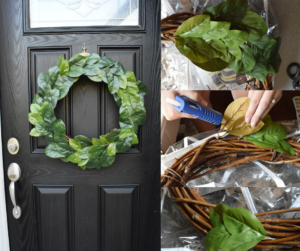 DIY Magnolia Leaf Wreath