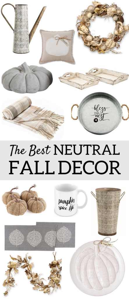 A Brick Home: Neutral fall decor ideas | white pumpkins | neutral fall living room decor | farmhouse fall decor | fall ideas | fall decor