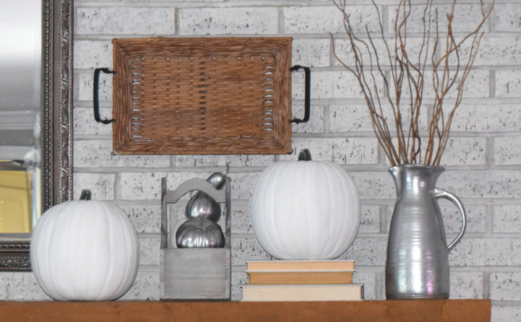 A Brick Home: Neutral fall mantel ideas, neutral fall decor, neutral fall mantel, fall mantel ideas, fall decor ideas, neutral fall decor, white pumpkins, fireplace fall decor, fireplace mantel decorating ideas, fall ideas