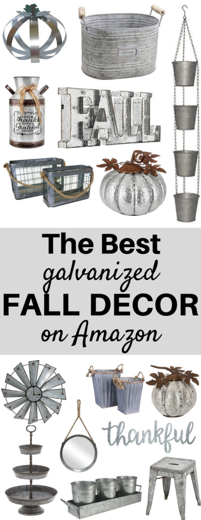 A Brick Home: galvanized fall decor, galvanized fall decorations, galvanized fall bucket, farmhouse style galvanized fall decor, barn tin, fall decor, fall decor ideas for the home