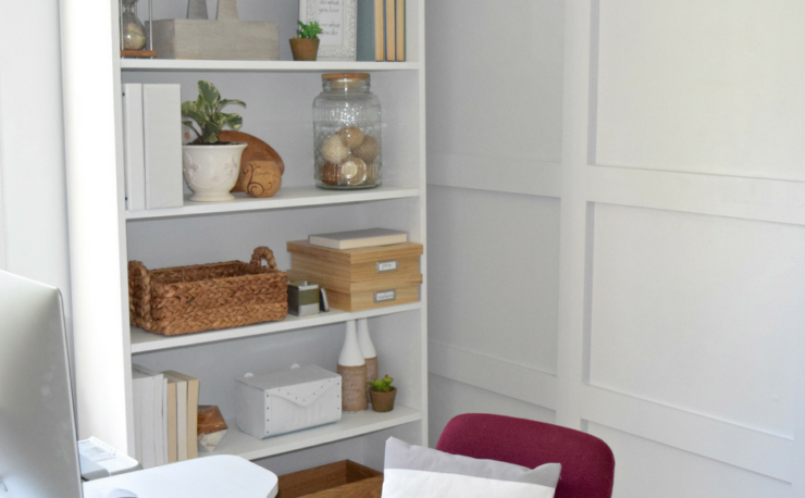A Brick Home: how to style an office bookcase, office bookcase decor, office decor ideas, bookshelf decorating