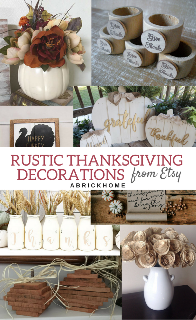Rustic thanksgiving decorations from etsy a brick home