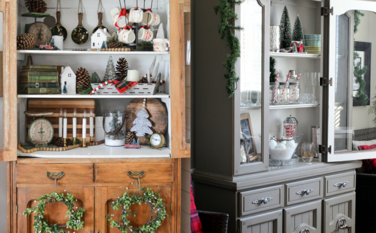 Christmas hutch decor ideas, christmas hutch china cabinet, christmas hutch decorating ideas, christmas hutch decor dining rooms, christmas dining room, christmas dining room decor