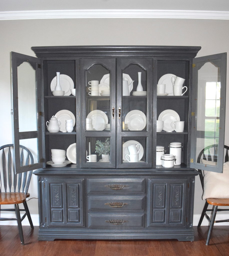 A Brick Home: Chalk Paint Hutch Makeover In Charcoal, Chalk Paint Hutch  Ideas Grey
