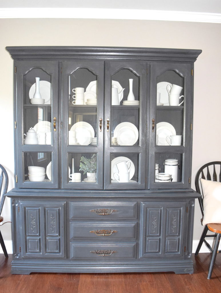 Delightful A Brick Home: Chalk Paint Hutch Makeover In Charcoal, Chalk Paint Hutch  Ideas Grey