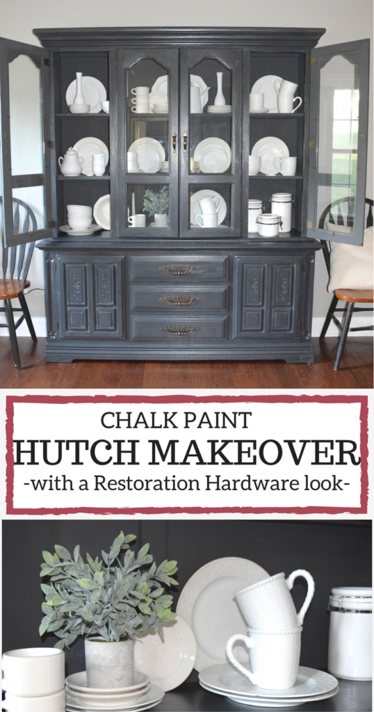 Bon A Brick Home: Chalk Paint Hutch Makeover In Charcoal, Chalk Paint Hutch  Ideas Grey