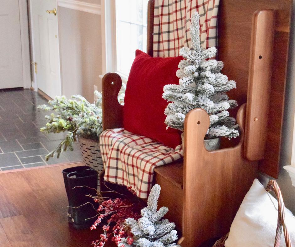 Christmas Entryway Bench Decor & My Nostalgia • A Brick Home