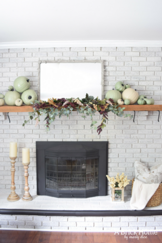 Fall Mantel Decor With Plum Pumpkins A Brick Home By Marly Dice