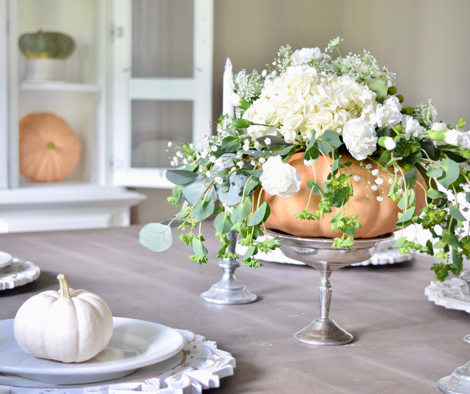 Fall Decorating Ideas For The Dining Room: Dining Room Fall Decor With Pumpkins & Florals