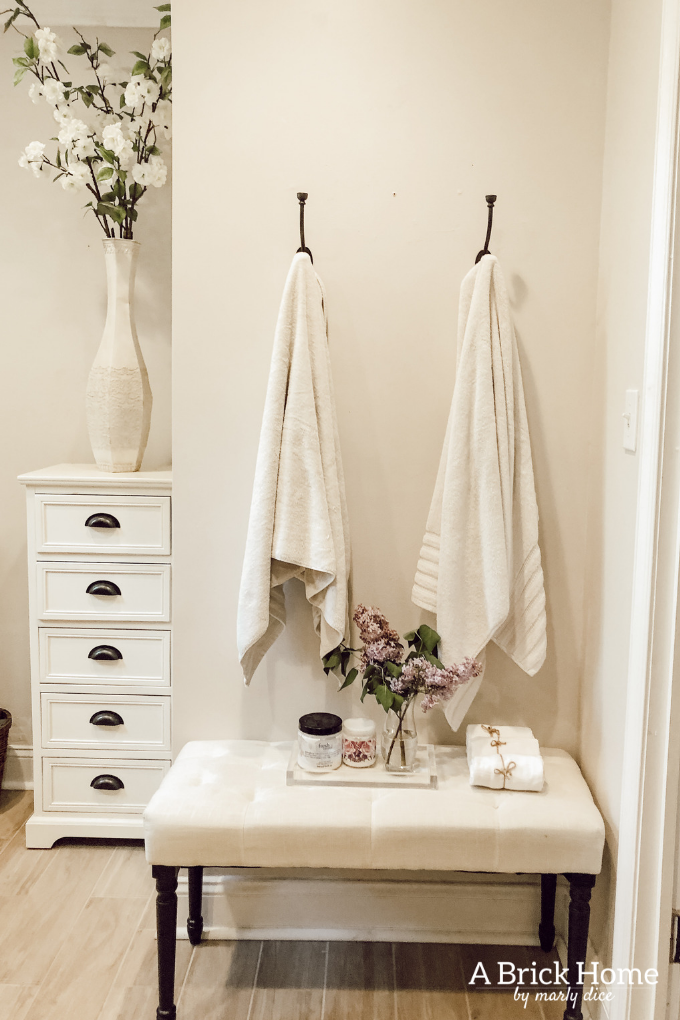 Towel Hooks in Our Master Bathroom - A Brick Home by Marly Dice